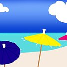 Colorful beach umbrellas by joannsnover