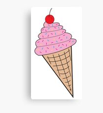 Pink Ice Cream Cone w/ Sprinkles Canvas Print