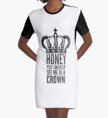 In A Crown Graphic T-Shirt Dress