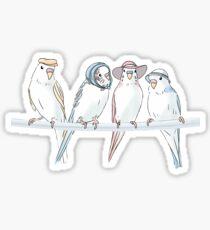 Birds with Hats Sticker