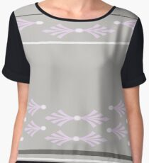 Feathers design in concrete, pink and white Women's Chiffon Top