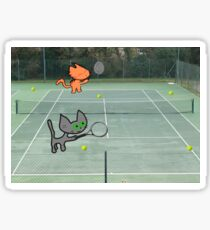 Tennis Cats Sticker