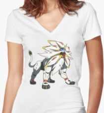 POKEMON SUN AND MOON - SOLGALEO Women's Fitted V-Neck T-Shirt
