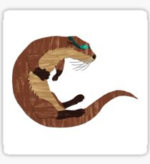 Swimming Otter Isolated Sticker