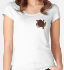 Swimming Turtle Isolated Women's Fitted Scoop T-Shirt
