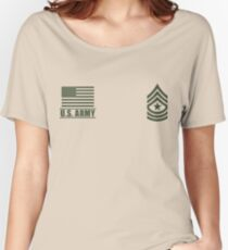 Sergeant Major Infantry US Army Rank Desert by Mision Militar ™ Women's Relaxed Fit T-Shirt