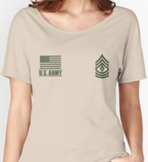 First Sergeant Infantry US Army Rank Desert by Mision Militar ™ Women's Relaxed Fit T-Shirt