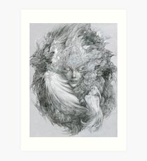 Fairy lady with white peacock and raven. Art Print