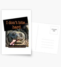 Snapping Turtle - I don't bite hard. Just kidding. I had my fingers crossed. Postcards