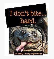 Snapping Turtle - I don't bite hard. Just kidding. I had my fingers crossed. Photographic Print