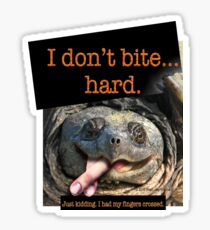 Snapping Turtle - I don't bite hard. Just kidding. I had my fingers crossed. Sticker