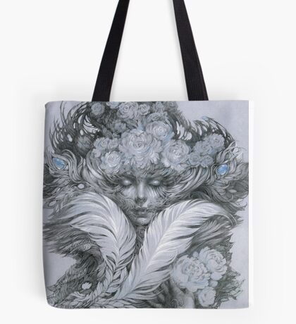 Fairy lady with white feathers and roses. Tote Bag