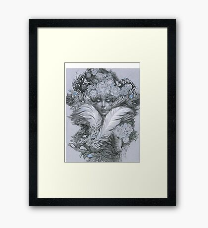 Fairy lady with white feathers and roses. Framed Print