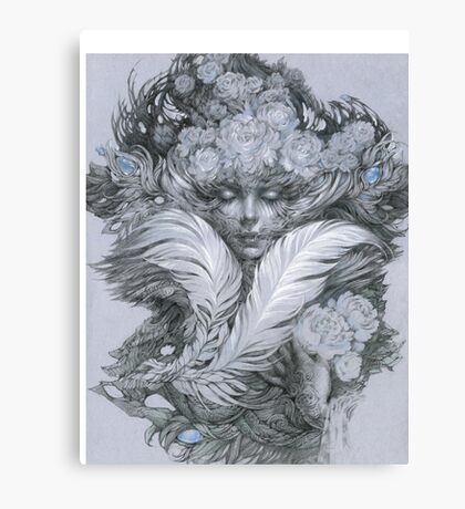 Fairy lady with white feathers and roses. Canvas Print