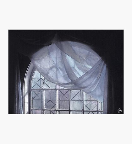 Hand-Painted Blue Curtain in an Arched Window Photographic Print