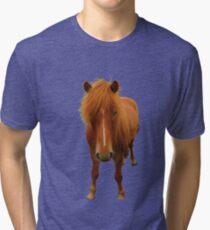 Icelandic horse on greenery Tri-blend T-Shirt