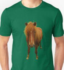 Icelandic horse on greenery Unisex T-Shirt