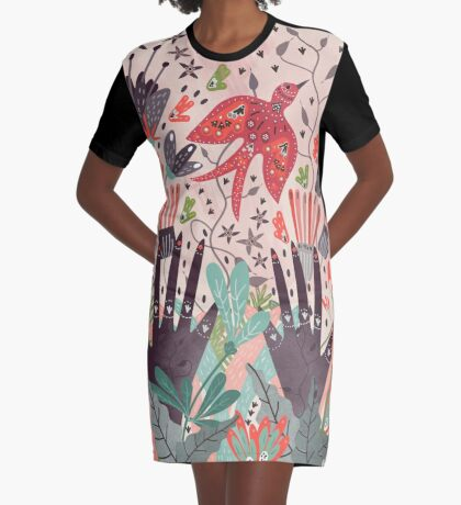 Spring Bird  Graphic T-Shirt Dress