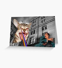 THE CAT STRIKES BACK Greeting Card