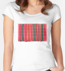 Row of Old Books Showing Spines Women's Fitted Scoop T-Shirt