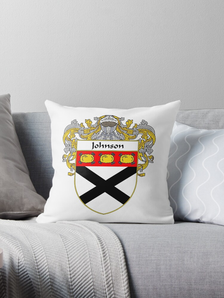 'Johnson Coat of Arms/Family Crest' Throw Pillow by William Martin