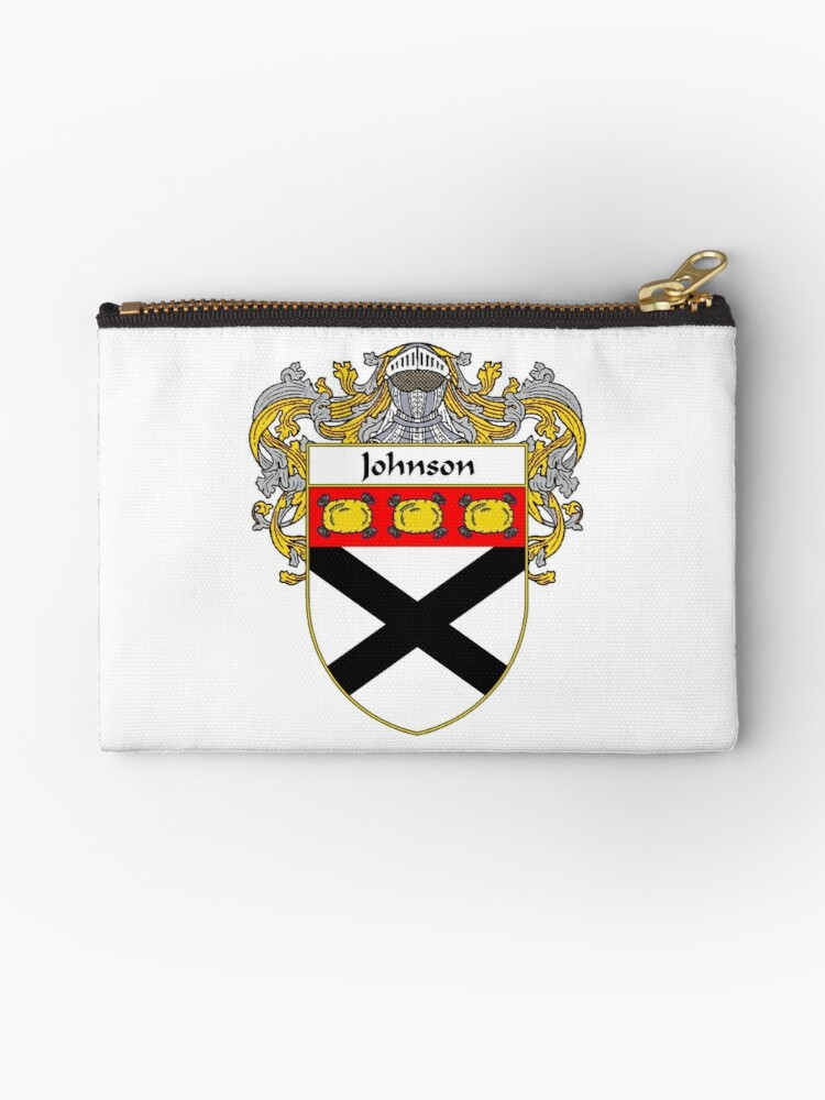 'Johnson Coat of Arms/Family Crest' Zipper Pouch by William Martin