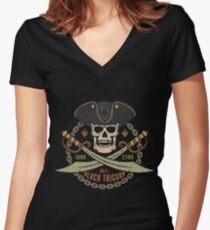 Pirate logo black tricorn Women's Fitted V-Neck T-Shirt