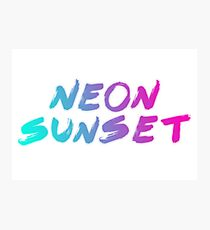Neon Sunset Typography  Photographic Print