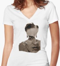 FRIDA - shirt version - sepia Women's Fitted V-Neck T-Shirt