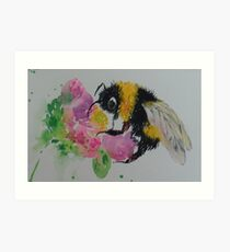 Bumble bee and pink flower Art Print