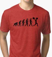 Funny Weightlifting Evolution Shirt Tri-blend T-Shirt