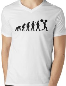 Funny Weightlifting Evolution Shirt Mens V-Neck T-Shirt