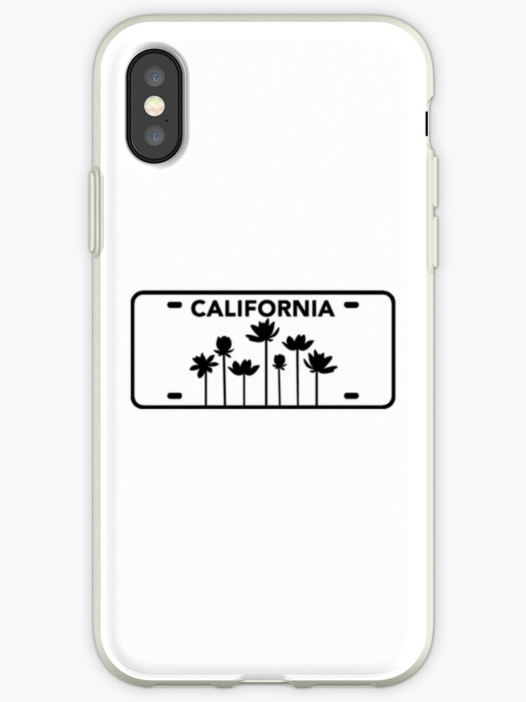 'California license plate with flowers in black ' iPhone Case by gracekotnik