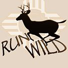 """RUN WILD"" with Running Buck Deer Silhouette & Tribal Sun . by VisionQuestArts"