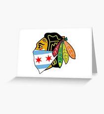 Chicago Blackhawks Logo With City Bandana  Greeting Card