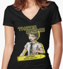 Hajime Hinata - That's Wrong Women's Fitted V-Neck T-Shirt