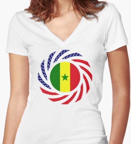 Senegalese American Multinational Patriot Flag Series Fitted V-Neck T-Shirt