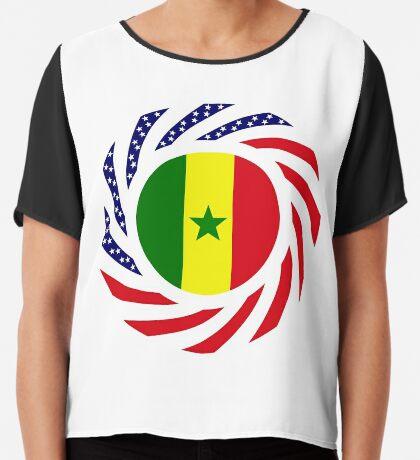Senegalese American Multinational Patriot Flag Series Chiffon Top