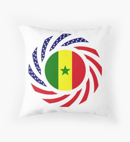 Senegalese American Multinational Patriot Flag Series Throw Pillow