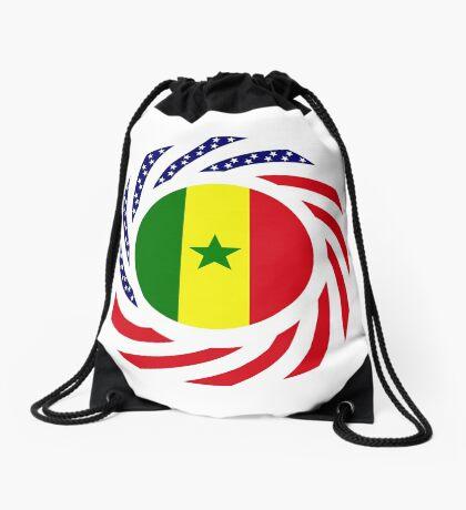 Senegalese American Multinational Patriot Flag Series Drawstring Bag