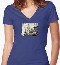 At the Beach  - JUSTART ©  Women's Fitted V-Neck T-Shirt