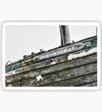 Abandoned fishing boat on Dungeness beach, Kent Sticker