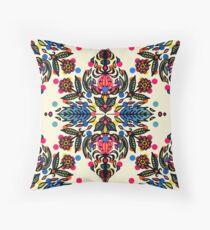 Bright Folk Art Pattern - hot pink, orange, blue & green Throw Pillow