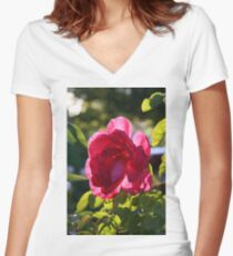 Rose In Light Women's Fitted V-Neck T-Shirt