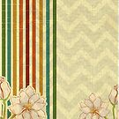 Vintage Colorful Stripes And Flowers by artonwear