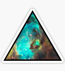 Green Galaxy Triangle Sticker