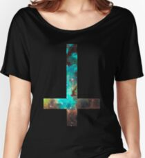 Green Galaxy Inverted Cross Women's Relaxed Fit T-Shirt