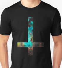 Camiseta unisex Cruz invertida verde Galaxy