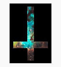 Green Galaxy Inverted Cross Photographic Print