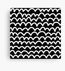 Wavy Pattern - White on Black Canvas Print